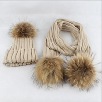 ingrosso bobble scarves-8 colori bambino bambini Pom Pom Beanie Warm Knitted Bobble Fur Pompon Cappello e sciarpa Set Bambini Pompon Winter Hat Skullies Sciarpa KKA5809