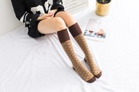 Wholesale cotton coffee sock - 3 pairs lot Fashion Women Socks White Coffee Color Adult Stockings High Quality cotton letter pattern Sock