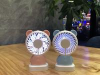 Wholesale rabbit fan resale online - Cute Mini Hand held Fan Portable USB Fan Bear Rabbit Handle Fan For Children Students kids Summer Gift
