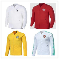 Wholesale quality player - Player version 2018 France tracksuit Soccer jacket top quality 18 19 PORTUGAL Brazil sportswear Sweater Maillot football jacket