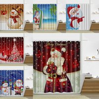 Wholesale modern curtains designs - 180*180cm Christmas Shower Curtain Santa Claus Snowman Waterproof Bathroom Shower Curtain Decoration With Hooks 13 Design WX9-107