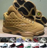 baskets vert armée pour hommes achat en gros de-Hommes 13 Wheat Olive Army Green Hommes Chaussures de basket-ball, 13 s DMP Black Cat Marine Bleu Chutney Heiress Vin Rouge Sports Sneakers Taille 7-13