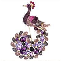 фиолетовые украшения павлина оптовых-115x75mm горный хрусталь павлин брошь, Птица перо хвост многоцветный фиолетовый золотой тонированное лес ювелирные изделия
