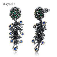 lustre en cristal bleu vert achat en gros de-Nouveau design de branche Long boucles d'oreille vintage