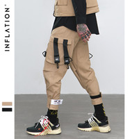 ingrosso tasca della caviglia-INFLATLION Loose Fit Elastico in vita Pantaloni cargo Pantaloni alla caviglia a righe Tasche grandi Casual Fashion Cargo 8884W