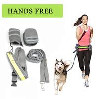 freie leine großhandel-Pet elastischer Gürtel Laufhundeleine Set Hands Free Hundeleine Kragen-Haustier-Zubehör-Welpen-Hundegeschirr Leine für Tiere