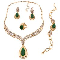 Wholesale Green Rhinestone Choker - Fashion Green Resin Crystal Choker Necklace Earrings and Bracelet Ring Statement Ethnic Punk Gold Color Party Gift Jewelry Sets Women 2018