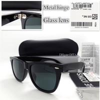 büyük kutu gözlükleri toptan satış-En Kaliteli Cam Lens G15 Büyük Çerçeve Güneş Gözlüğü Erkek Kadın Moda Bağbozumu Kare Düz Güneş Gözlüğü 52 MM 54 MM Menteşe G ...