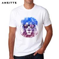 camisa de león fresco al por mayor-Lo nuevo 2018 Summer Style Lion King Animal Print camiseta de moda de hombre manga corta Cool Animal Tee Tops
