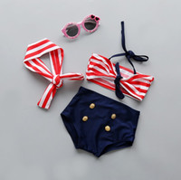 Wholesale Fashion kids girls swimmers bathers clothes kids baby girls bikini suit summer kids halter striped bow swimwaer swimming clothes