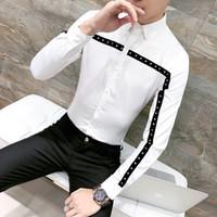 ingrosso abito smoking bianco-Moda Rivetti Design Uomo Camicia Primavera New 2018 Solid Slim Fit Tuxedo Camicie maniche lunghe Camicia coreana Dress Maschio Nero / Bianco 3XL