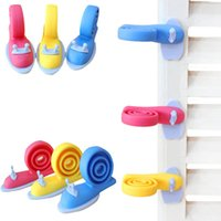 Wholesale baby gates door online - Snail Safety Revolving Door Stop Gates Baby Safety plastic Windproof Plug Fencing For Children Baby Gate Corner Protector FFA1182