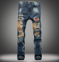 moda kot büyük delik toptan satış-Erkekler Biker Denim Jeans Ripped Sıkıntılı Büyük Delikler Ince Rahat Moda Düz Hip Hop Kot 28-38