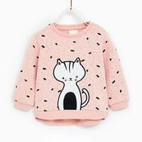 ingrosso i bambini vestono i gatti-2018 Nuovo arrivo neonate felpe inverno primavera autunno bambino gatti maniche lunghe maglione bambini t-shirt vestiti top per 2-7y
