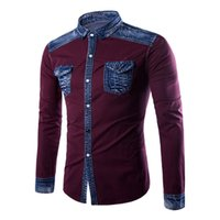 remiendo del dril de algodón camisetas al por mayor-Classic Blue Brand Denim Shirts Europe Boy 3XL Slim Patchwork Blusa guapo hombre club ropa marea Turn-down cuello camisa 2018