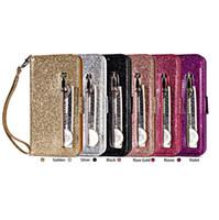 telefones com zíper venda por atacado-Bling glitter zipper multifuncional carteira de couro tpu com slot para cartão titular phone case para iphone xs max xr 6 7 8 além disso s8 s9 plus note9