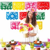 fahne girlande groihandel-Eco Friendly Mexican Banner Garland Hochzeit Flagge Banner-Dekorationen für Themed Party Papel Picado Halloween-Geburtstags-Party