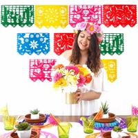 bayrak çelenk toptan satış-Temalı Parti Papel Picado Cadılar Bayramı Doğum Parti İçin Çevre Dostu Meksika Banner Garland Düğün Bayrak Banner Süsleri