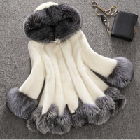 Wholesale large faux fur hats - Large Size 4XL Thick Warm Faux Fur Coat Black artificial White fur coat Have A Hat manteau fourrure femme black and white