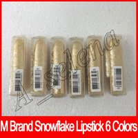 Wholesale wholesale paste lipstick online - 2017 Newest M brand Lip cosmetics Selena Christmas limited edition bullet lipstick snowflake lipstick paste with triangular ELLE BELLE