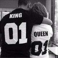 Wholesale Valentine T Shirts - Hot Valentine Lovers Short Sleeved Lining Letters King 01 Queen 01 Printing Lovers Casual Cotton T-Shirt