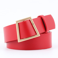 Wholesale faux leather ladies for sale - Women Fashion Belt Artificial Leather Alloy Without Needle Smooth Buckle Solid Color Rectangle Lady Decoration Leisure Belts ny hh