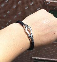 u браслет оптовых-16/17/18/19/20/21cm black rope twist u bracelet,famous france paris  jewelry magnetic buckle blue bangles stainless steel