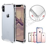 iphone al por mayor-Transparente A prueba de golpes Acrílico Híbrido Armadura Parachoques Tapa de TPU suave Estuche rígido de PC para iPhone XR XS MAX 8 7 Samsung S9 Note9