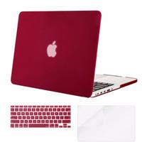 teclado duro al por mayor-Mosiso Estuche de cubierta dura para Macbook Pro 13 Retina 2013 2014 2015 A1502 A1425 + Funda con teclado de silicona + Protector de pantalla