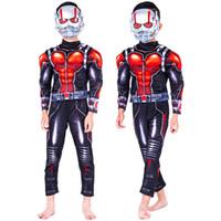 disfraces de hormigas al por mayor-Película caliente Ant -man Muscle Costume Child Boys Ant hombre traje de Cosplay para niños Halloween para niños Disfraz con máscaras