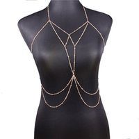 Wholesale sexy waist necklace for sale - Group buy New Sexy Body Chain Bra Necklace Waist Chains Gold Fashion Body Jewelry for Women Beach bodychain will and sandy drop ship