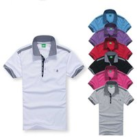 Wholesale polyester cotton shirt - Designer Polo Shirts Summer Hot Sale Boss Lapel Polos Cotton Shirt Men Short Sleeve Sport Polo Striped Fashion Casual New High Quality