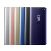 iphone 5s transparenter flip-fall großhandel-Flip leder stehen transparente ansicht spiegel fall für iphone 7 8 plus xs max xr 6 6 s 5 5 s se luxus kunststoffabdeckung