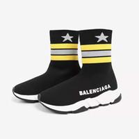 çift erkek ayakkabı toptan satış-2018 Çocuk erkek ve kız için lüks çiftleri hız eğitmeni ayakkabı moda yıldız baskı çocuk elbise bir çift çorap eğitmen hız ayakkab ...