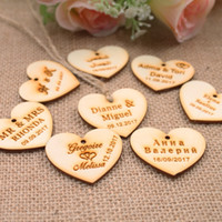 Wholesale jute string wholesale - 100 Personalized custom Engraved wedding name and date Love Heart wooden Wedding CenterpiecesGift Tags+Jute String Candy Tag