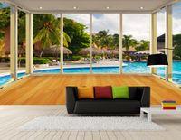 ingrosso arredamento piscina-All'ingrosso-murales-3d wallpapers home decor Foto sfondo carta da parati 3D balcone finestra Maldive piscina TV sfondo muro di carta