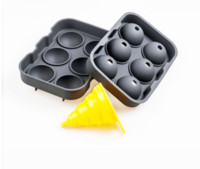 Wholesale hole maker - 6 Hole Cocktail Ice Cube Ball Maker Party Bar Silicone Ice Hockey Mold With Mini Funnel