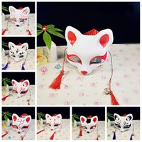 Wholesale japanese masquerade masks - Japanese Style Half Face Mask Fox Cat Design With Tassels Eco Friendly Pvc Masks For Party Masquerade Dress Up Props 4 8yd Z