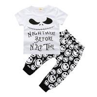 trajes de cabeça venda por atacado-Bebê recém-nascido Meninos Roupas Criança T-shirt + Calças 2 PCS conjunto de Cabeças de Crânio Roupa Infantil Boutique Roupas Casuais Crianças Traje Crianças Pijama