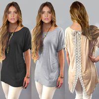 Wholesale ladies blouses sale - Plus Size 3 Colors Hot Sale 2018 Soft Cotton Lace Blouse Short Sleeve Long Length Shirt BOHO Style for Ladies Free Shipping