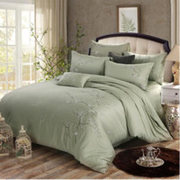 Wholesale orange flowered comforter - Chinese Japanese Korean style Plum flower embroidery light green 100% cotton 4pcs quality comforter duvet cover queen king bedding set 3713