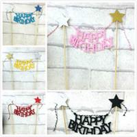 ingrosso forniture di utensili da giardino-Cake Decorating Flag Tools Inserisci scheda Happy Birthday Party per la casa Garden Event Paper Supplies Creative 1 5hw BW
