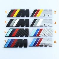 logos bmw pegatinas al por mayor-8 cm * 3 cm Bmw M3 M5 M potencia deporte Metal M logo insignia marca trasera cola tronco Fender emblema Sticker Decal