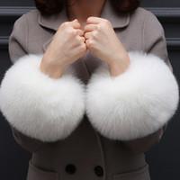 модные рукавицы оптовых-Fashion Lady accessories Apparel Warmers False fur Cuff gloves sleeve fake cuffs Oversized  hair cuff bracelet wrist hand