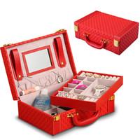 tronco de joyas al por mayor-Exquisito joyero rojo PU cuero tejido patrón 2 capas rectángulo tronco forma organizador caja de almacenamiento portátil