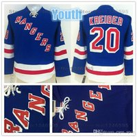 rangers ny toptan satış-2015 Gençlik New York Rangers Formalar Çocuklar # 20 Chris Kreider Jersey Gençlik Ev Mavi Erkek NY Rangers Ucuz Chris Kreider Hokeyi Jersey