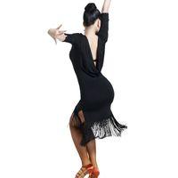 ingrosso gonne di danza zebra-Vestito da ballo latino per donne vestito da ballo latino con frange Abiti da ballo per balli latino Vestito da tango Vestito con gonne di samba