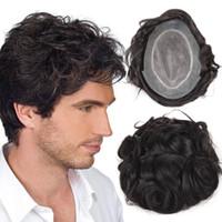 ingrosso parrucche per gli uomini-Parrucche di capelli umani per uomini parrucchino per uomo Top capelli con NPU più durevoli Toupee Capelli di remy peruviano parrucca maschile confortevole TS-1