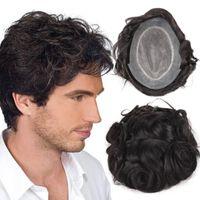 saçlı peruk peruk toptan satış-Stok İnsan saç Peruk Erkekler Için erkek peruk Üst Saç Parça NPU Ile En Dayanıklı Peruk Perulu Remy Saç Rahat Erkek Peruk TS-1