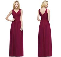 Wholesale garden party dresses online - 2018 In Stock V Neck Burgundy Bridesmaid Dresses Sleeveless Ruffle Chiffon Wedding Party Wear With Zipper Back Maid of Honor Gowns CPS870
